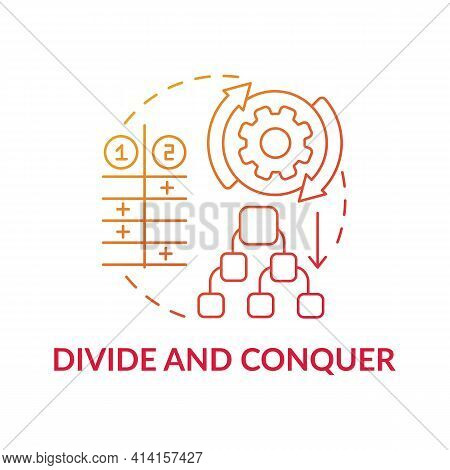 Divide And Conquer Red Gradient Concept Icon. Task Management. Method For Decision Making. Problem S