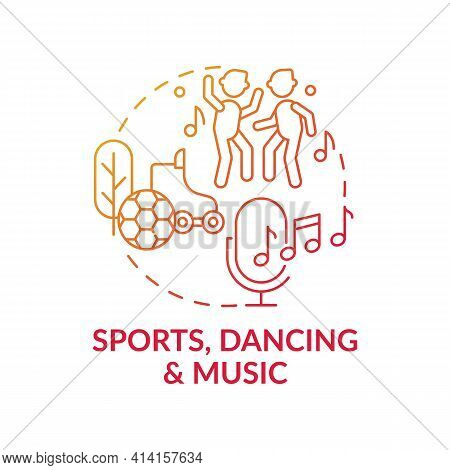 Sports, Dancing And Music Red Gradient Concept Icon. Recreational Activity, Improve Creative Thinkin