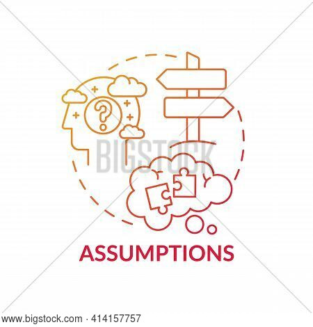 Assumptions Red Gradient Concept Icon. Proof For Theory. Presumption, Problem With Critical Thinking