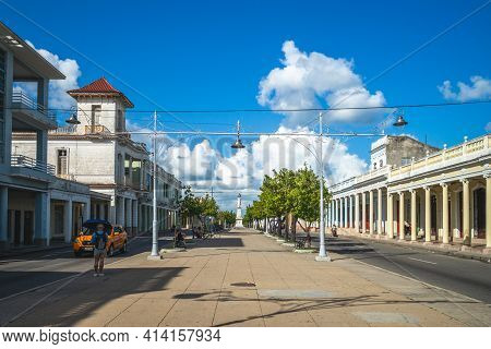 October 30, 2019: Street Scene Of Paseo Del Prado, The Main Street Of Cienfuegos And The Longest Str