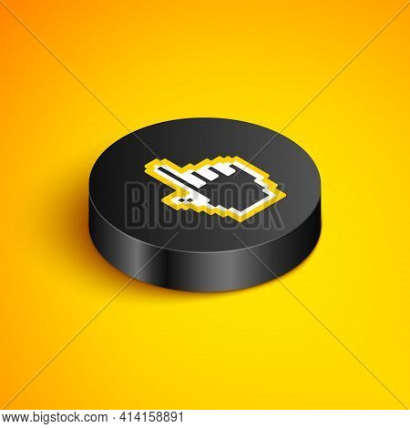 Isometric Line Pixel Hand Cursor Icon Isolated On Yellow Background. Pointer Hand Cursor. Black Circ