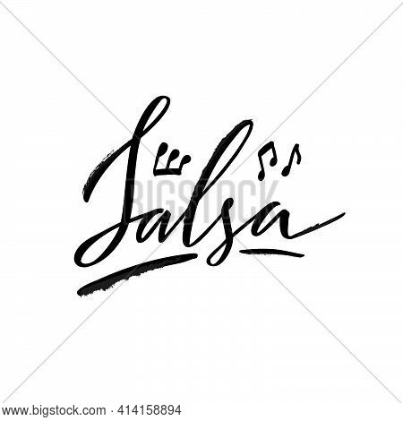 Vector Illustration Of Salsa Black Isolated Word For Banner, Poster, Business Card, Dancing Club Adv