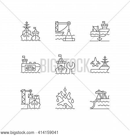 Shipping Industry Linear Icons Set. Naval Fleet. Underwater Construction. Anchorage. Car Shipping. C