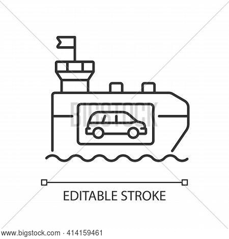 Vehicle Carrier Ship Linear Icon. Car Shipping Service. Wheeled Cargo Transportation. Ro-ro Ships. T