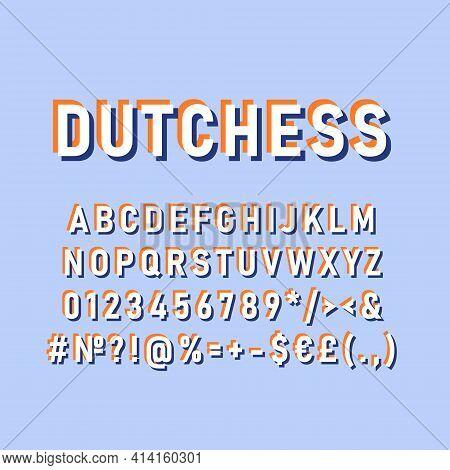 Dutchess Vintage 3d Vector Alphabet Set. Retro Bold Font, Typeface. Pop Art Stylized Lettering. Old