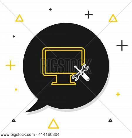 Line Computer Monitor With Screwdriver And Wrench Icon Isolated On White Background. Adjusting, Serv