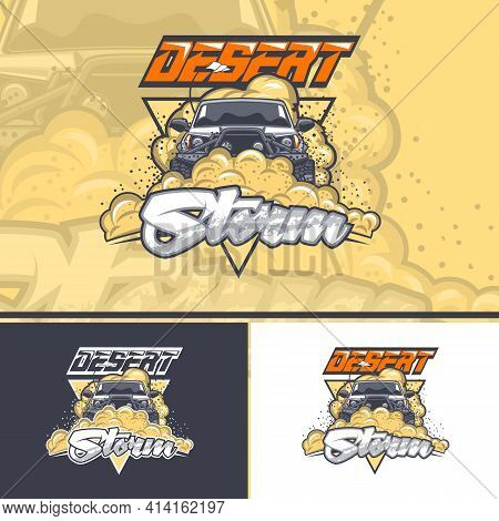 Desert Storm With An Off-road Car In Three Variants For Printing On T-shirts.