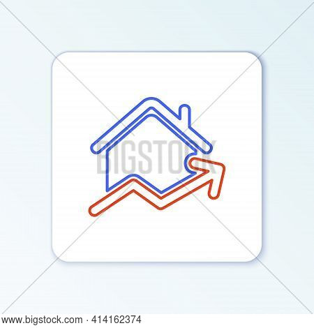 Line Rising Cost Of Housing Icon Isolated On White Background. Rising Price Of Real Estate. Resident