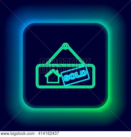 Glowing Neon Line Hanging Sign With Text Sold Icon Isolated On Black Background. Sold Sticker. Sold