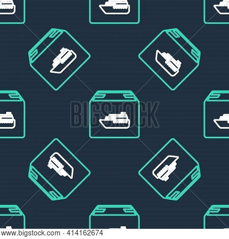 Line Cargo Ship With Boxes Delivery Service Icon Isolated Seamless Pattern On Black Background. Deli
