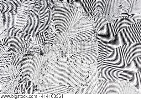 Facade Plaster Background. Gray Plaster Stripes Pattern. Tile Adhesive Texture. Home Renovation Text