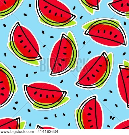 Watermelon Hand Drawn Sketch Seamless Pattern. Bright Red, Green, Blue Exotic Fruit Backdrop. Outlin