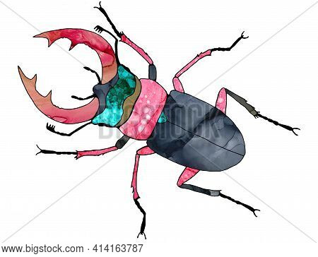 Stag Beetle. Stag Beetle With Large Antlers. Big, Blue, Purple Beetle With A Bright, Decorated Body.