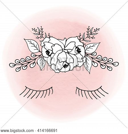 A Wreath Of Peony Flowers, Leaves, Willow Twigs And Lashes Of Closed Eyes On A Pink Watercolor Backg