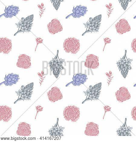 Seamless Pattern With Hand Drawn Pastel Peony, Carnation, Ranunculus, Wax Flower, Ornithogalum, Hyac