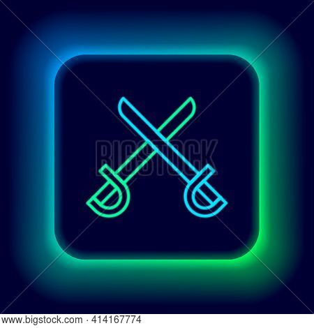 Glowing Neon Line Crossed Pirate Swords Icon Isolated On Black Background. Sabre Sign. Colorful Outl