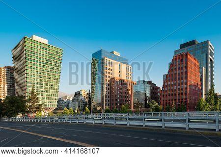 The Apoquindo Avenue In The Wealthy District Of Las Condes In Santiago De Chile