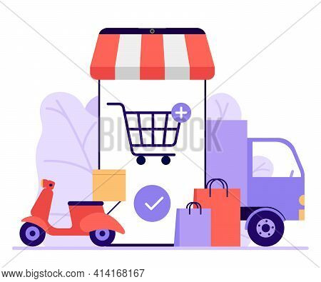 Online Mobile Shopping, Shop To Online. Buy Things In Store Through Phone App. Choose Goods Through