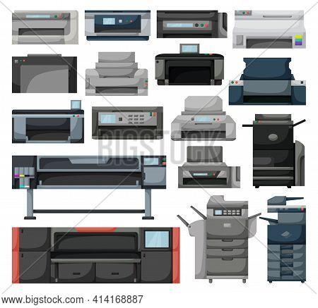 Printer Vector Cartoon Set Icon. Vector Illustration Scanner Machine On White Background. Isolated C