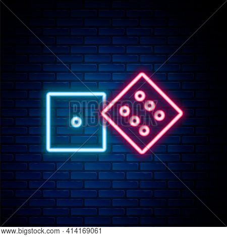 Glowing Neon Line Game Dice Icon Isolated On Brick Wall Background. Casino Gambling. Colorful Outlin