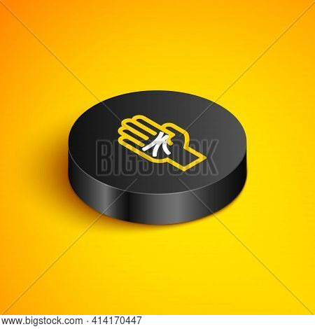 Isometric Line Palmistry Of The Hand Icon Isolated On Yellow Background. Black Circle Button. Vector