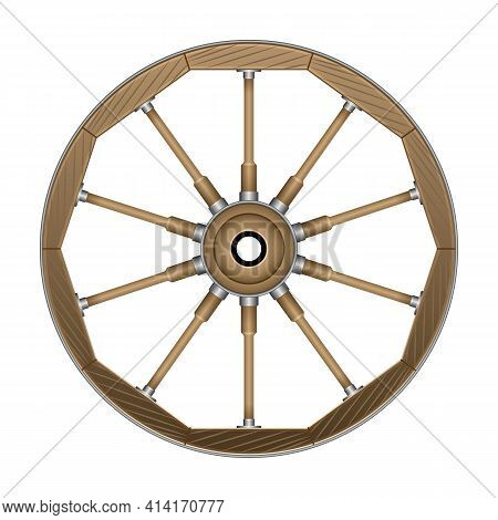 Wild West Wheel Vector Icon.cartoon Vector Icon Isolated On White Background Wild West Wheel.