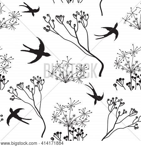 Seamless Black And White Sketch Pattern With Hovering Swallows And Abstract Dry Flowers For Web Desi