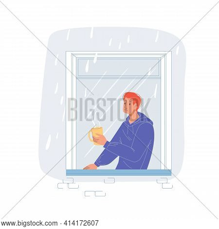 Vector Cartoon Flat Man Character Looks Sad In House Window.young Boy In Melancholy Mood - Emotions,