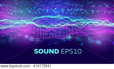 Audio Wave Background. Artificial Intelligence Synergy Bigdata Flow. Speed Data Wave. 5g