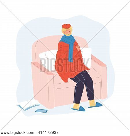 Vector Cartoon Flat Patient Character Ill, Sick Person Indoor At Home Quarantine Self Isolation-feve