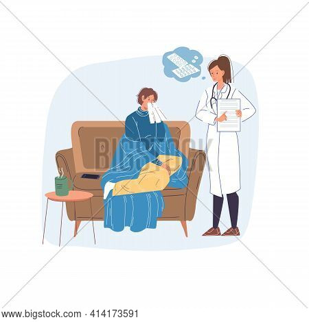Vector Cartoon Flat Patient, Doctor Characters.physician Character Examines Sick Person Woman In Cha