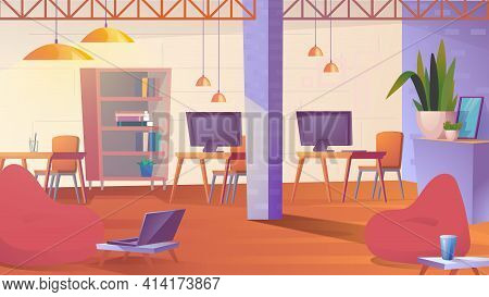 Creative Coworking Space Landing Page In Flat Cartoon Style. Open Loft Office With Bag Chairs, Lapto