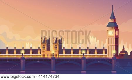 London Landing Page In Flat Cartoon Style. Westminster Bridge And Big Ben. Night City Panorama, Urba