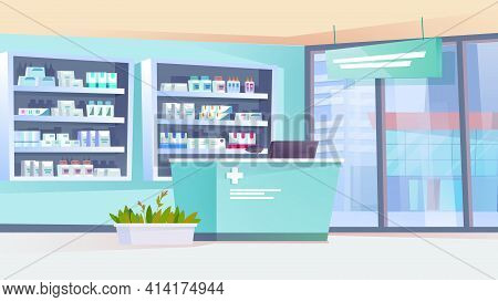 Pharmacy Interior Landing Page In Flat Cartoon Style. Drugstore With Counter, Shelves With Medicines
