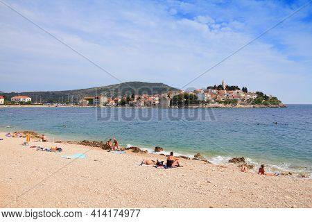 Primosten, Croatia - June 24, 2011: Beach Vacation In Primosten, Croatia. In 2011 11.2 Million Touri