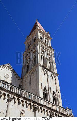Trogir Cathedral Campanile. Landmark Of Trogir, Croatia.