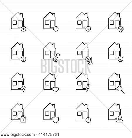 Real Estate Outline Icons. Set Of Simple Vector Line Icons For Real Estate Business. Collection Of P
