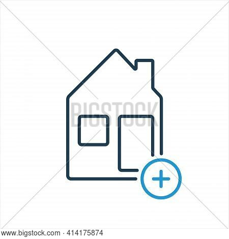 Add And Book House, Hotel Or Room Line Icon. Reserve Of Real Estate. House And Plus Sign Line Icon.