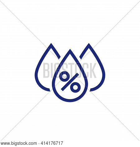 Humidity Icon, Water Drops And Percent Sign