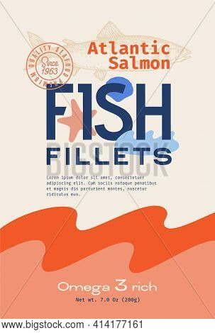 Fish Fillets Abstract Vector Packaging Design Or Label. Modern Typography, Hand Drawn Wild Atlantic