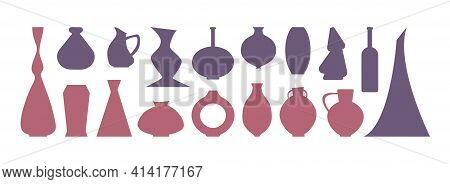A Large Set Of Vases And Jugs. Simple Minimalistic Flat Shapes. Flower Vases And Liquid Jugs, Collec