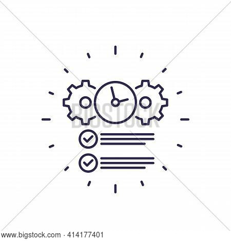Deadline, Completed Task Line Icon On White
