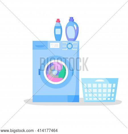 Working Washing Machine And Empty Laundry Basket, Bottles With Liquid Detergents, Flat Style Vector