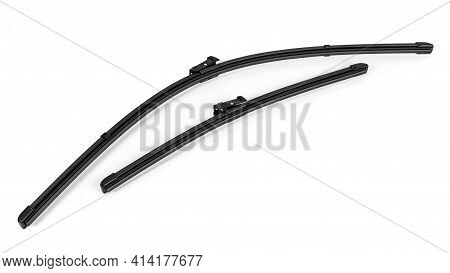 Pair Of Modern Frameless Car Wipers Isolated On White Background With Clipping Path