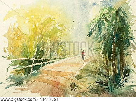 Watercolor Painting Of Indian Village Road With Trees On Both Sides, In The Morning. A Sweeper Man D