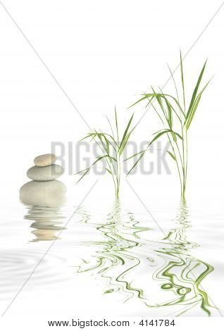 Zen Stones And Bamboo Grass