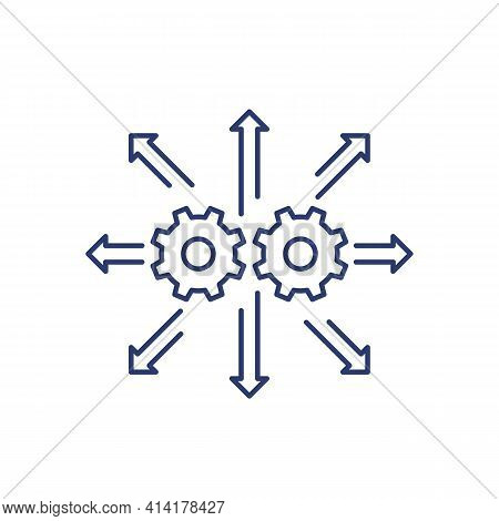 Automation And Integration Line Icon On White