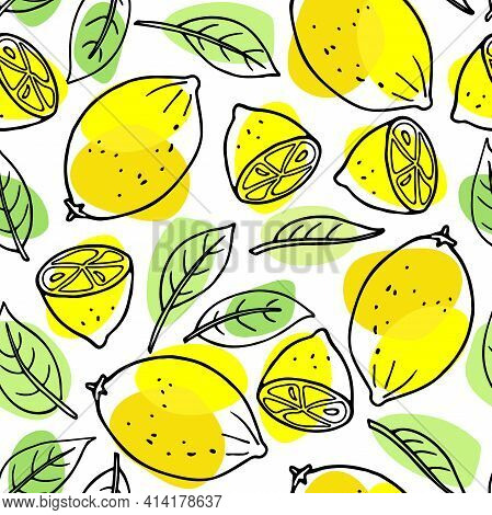 Citrus Seamless Pattern. Lemon Fruit And Leaves. Citrus Hand Drawn Vector Doodle Sketch With Green A