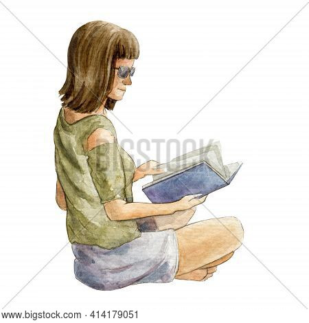 Young Girl Sitting With A Book Side View. Watercolor Illustration. Single Woman Relaxing With Book.