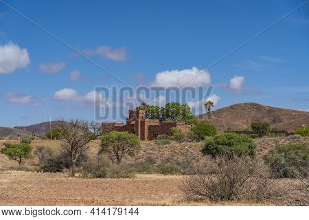 Namib Desert, Namibia, January 9.2021: Duwisib Castle In Namib Naukluft National Park With Blue Sky